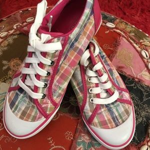 Coach Barrett Madras Plaid Sneakers NWOT